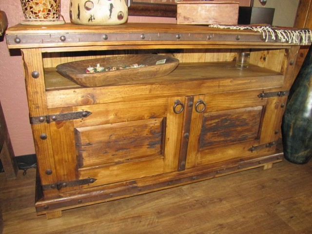 Rustic Old Door TV Console traditional