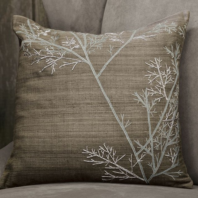 Modern Embroidered Throw Pillow : Embroidered Winter Branch Pillow Cover - Modern - Decorative Pillows - by West Elm