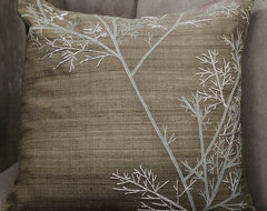 Embroidered Winter Branch Pillow Cover modern pillows