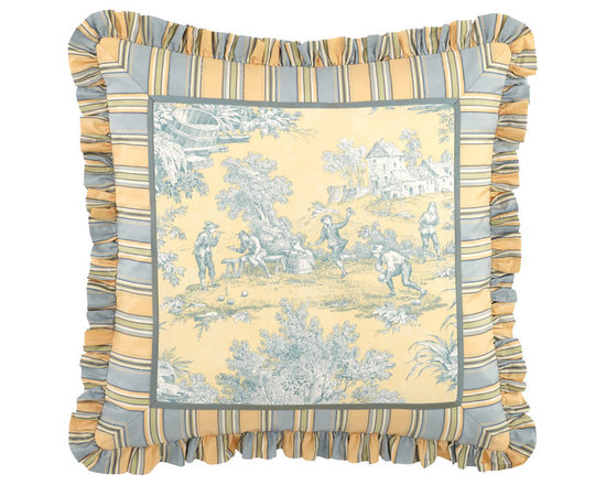 """Legacy By Friendly Hearts - Toile Pillow w/ Striped Ruffle 20""""Sq. - Legacy By Friendly HeartsToile Pillow w/ Striped Ruffle 20""""Sq."""