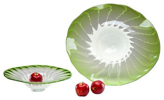Green Art Glass Bowl, Small contemporary-home-decor