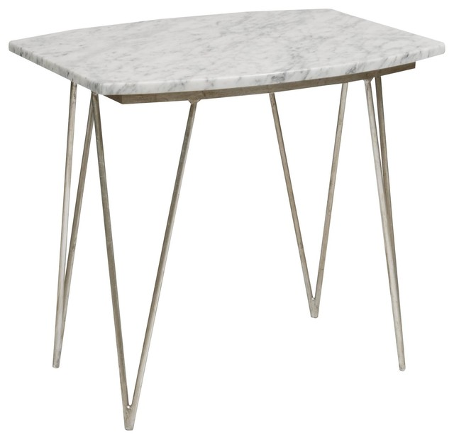 Worlds Away Suzy Silver Leafed Side Table with White Marble Top traditional-side-tables-and-end-tables