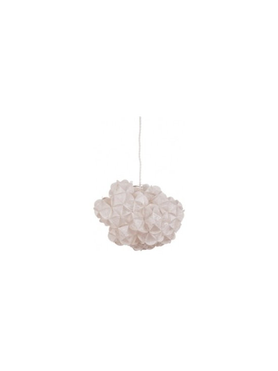Eco Friendly Furnture and Lighting - made of manually folded mulberry paper, nepalian paper or minerals applied to transparency pvc. light as a summer cloud, each piece is one of a kind, asymmetrical and elaborate in volume and balance. both a sculpture and a light. due to the hand made nature of the piece, no two pendants are alike.