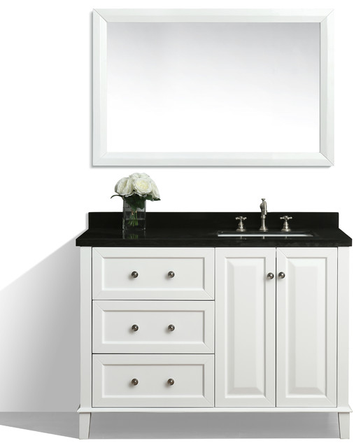 Hannah 48 Off Centered Right Basin Vanity Set With Mirror Houzz Exclusive Bathroom
