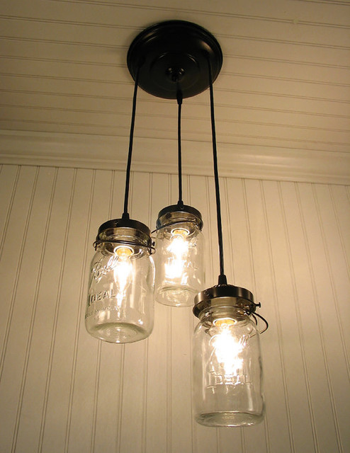 Vintage Canning Jar Chandelier by LampGoods eclectic-pendant-lighting