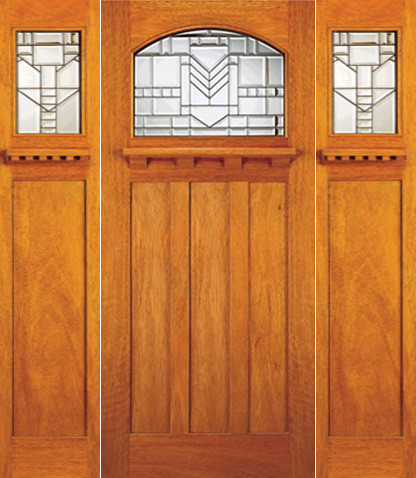Mahogany Mission Style Prehung Single Door And Two