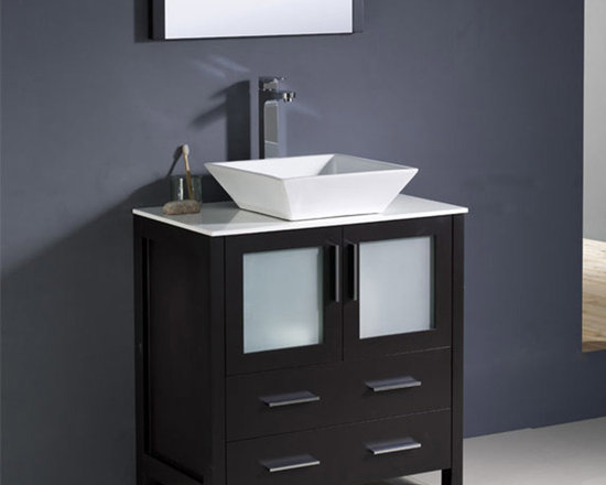 Fresca - Fresca Torino 30 Espresso Modern Bathroom Vanity w/ Vessel Sink - With a rich Espresso finish for a touch of luxury and frosted glass panels, the Torino 30 vanity from Fresca will look sleek and stylish in both modern and traditional bathrooms. Durable and robust in construction, this vanity provides a smart and practical storage solution for beauty products and toiletries. This vanity includes the ceramic vessel sink, which adds a chic, spa-style touch. Torino Bathroom Vanity Details:   Dimensions: 30W x 18 1/8D x 35 5/8H Material: Plywood with Veneer, ceramic vessel sink Finish: Espresso Please note: faucet not included