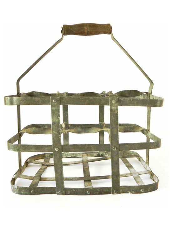 Zinc Bottle Carrier - A zinc bottle carrier for 6 bottles, be it wine for decoration or returning your re-cycling to the center, this carrier lets you do it in style. The handle is supported with a