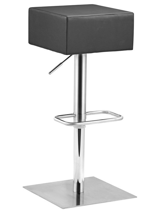 "Zuo - Zuo Butcher Black Adjustable Height Bar or Counter Stool - The square seat of this comfortable and stylish backless bar stool echoes its square base and rectangular footrest. With a seat cushion covered in soft black leatherette and a stainless steel base this stool will complement many contemporary styles of home decor. Height adjusts to accommodate your bar or dining counter. From the Zuo Modern collection. Black leatherette cushion. Stainless steel frame. Footrest. Height adjusts from 25 1/2"" to 35 1/2"". 15"" wide. 14"" deep. Seat is 14"" square.  Black leatherette cushion.  Stainless steel frame.  Footrest.  Height adjusts from 25 1/2"" to 35 1/2"".  15"" wide.  14"" deep.  Seat is 14"" square.  250 lb. weight capacity."