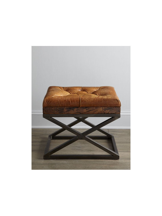 """Horchow - Warona Leather Bench - Sturdy in appearance with its iron base construction and undeniably handsome with its combination of antiqued fruitwood and tufted, old-bay leather seat, this classic X-bench adds quiet sophistication to the room. Handcrafted. 22""""W x 16""""D x 18""""T. Im..."""
