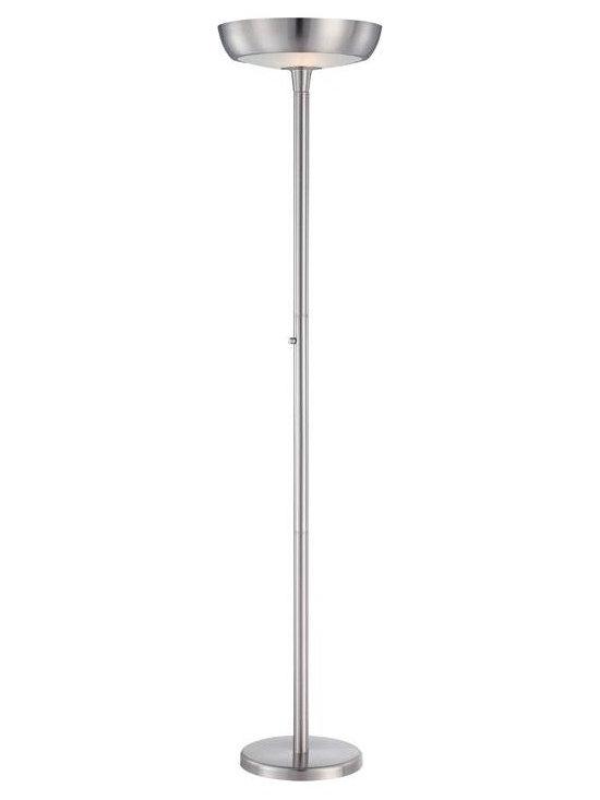 Joshua Marshal - Steel Two Light Up Lighting Torchiere Floor Lamp - Finish: Polished Steel