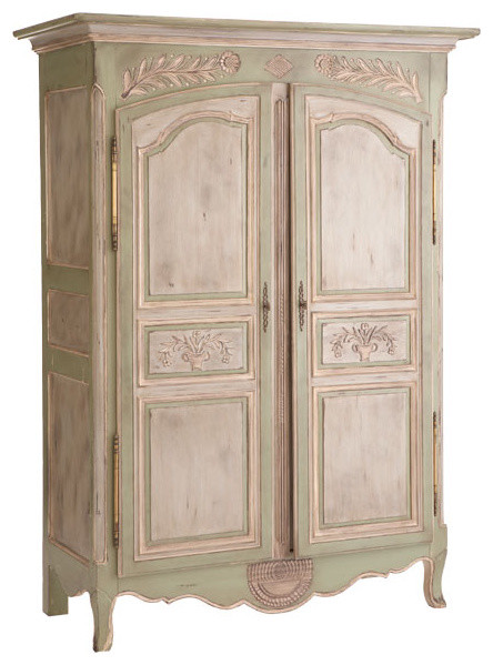 Carved Laurel Leaf Office Armoire traditional dressers chests and bedroom armoires