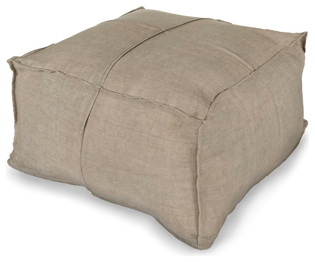 Linen Pouf - Light Grey - Transitional - Floor Pillows And Poufs - by Bliss Home & Design