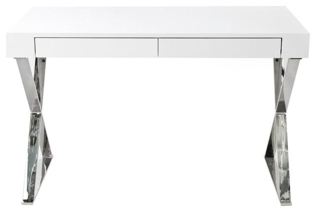 frank two drawer desk white lacquer modern desks and hutches by