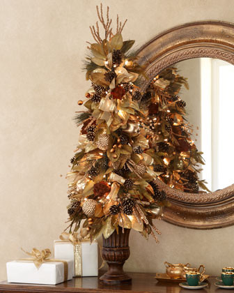 Bronze gold christmas tree traditional holiday Brown and gold christmas tree