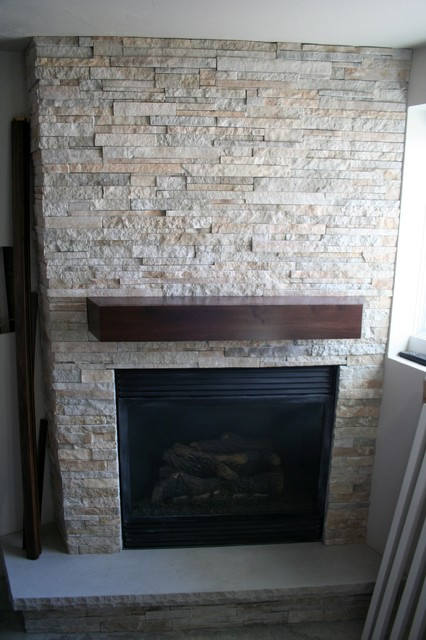Stacked Stone Fireplace - Modern - Basement - by The Quarry Mill ...