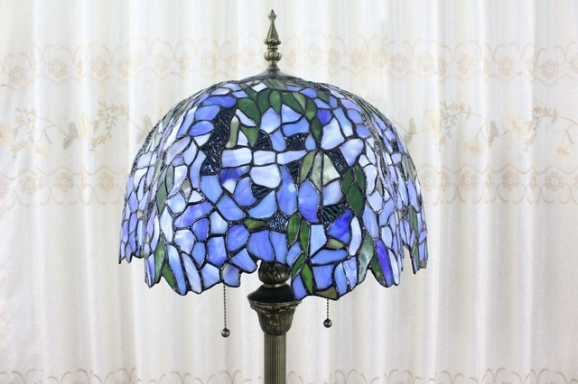 Blue pattarn stained glass shade tiffany style floor lamp for Tiffany style vase floor lamp
