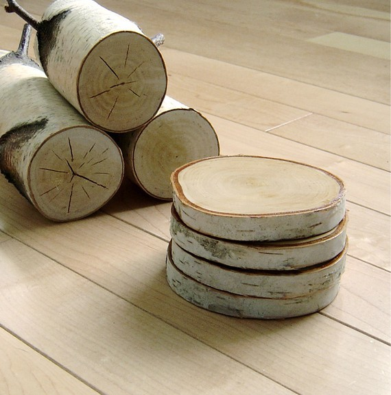 Natural White Birch Wood Coasters by Urban + Forest eclectic barware