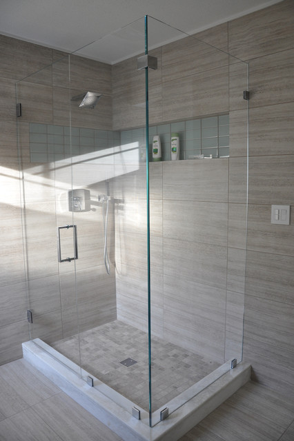 Model Modern Bathroom With White Tile  Contemporary  Bathroom  Other  By
