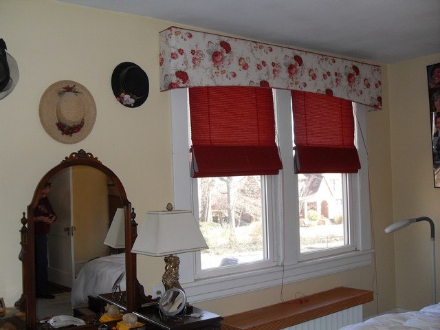 Floral covered cornices for a bedroom traditional