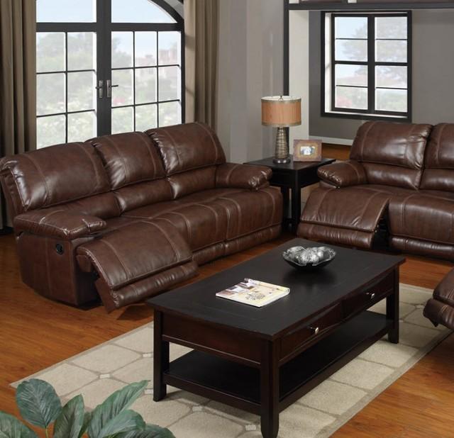 Furniture - Mahogany Bonded Leather Sofa - F7092 contemporary sofas