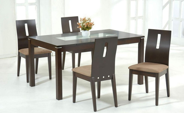 Stylish wooden and frosted glass top microfiber seats for Dining table designs in wood and glass