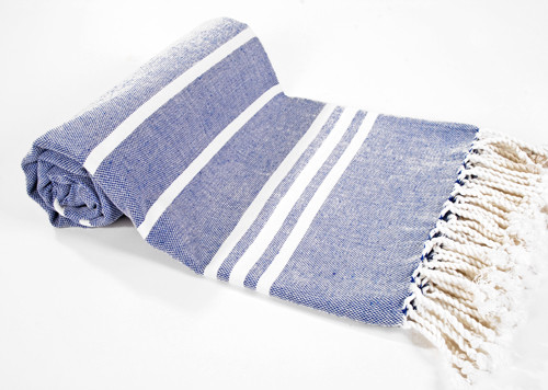 Cotton Turkish Bath Towel - Blue With White Stripes mediterranean towels