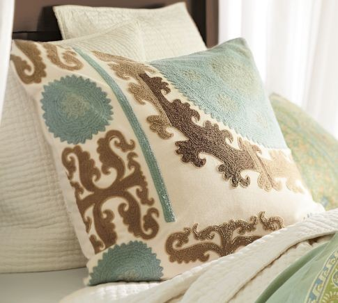 Suzani Embroidered Pillow Cover, Cool - Mediterranean - Decorative Pillows - by Pottery Barn