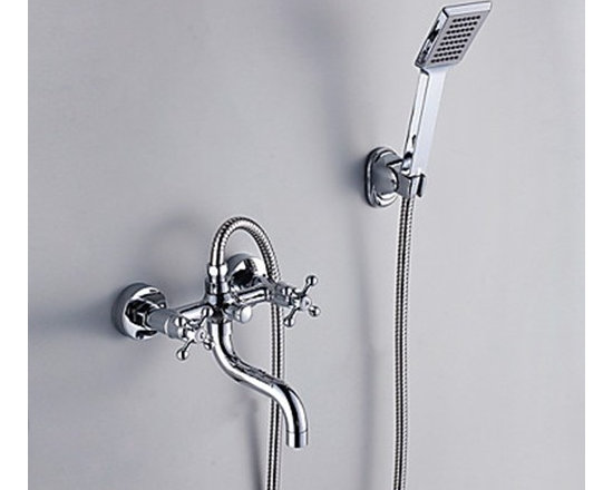 Shower Faucets - Contemporary Ceramic Valve Single Handle Style Chrome Finish Shower Faucets-- FaucetSuperDeal.com