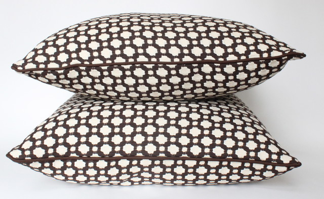 Brown Betwixt Pillow with Piping contemporary-decorative-pillows