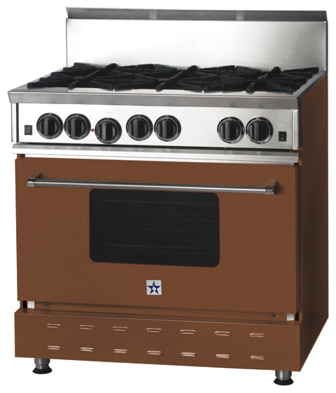 """36"""" BlueStar Range in Clay Brown (RAL 8003) modern-gas-ranges-and-electric-ranges"""