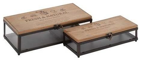 Manhattans Creative Metal Wood Glass Box - Contemporary ...