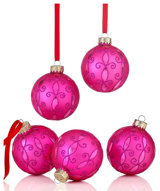 Holiday lane set of pink arabesque ornaments for Pink christmas decorations