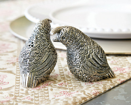 Ballard Designs - Quail Salt & Pepper Shakers - Our charming Quail Salt & Pepper Shakers will start every meal off with a smile. Each is handmade of cast aluminum with antique silver finish for an eclectic vintage look.