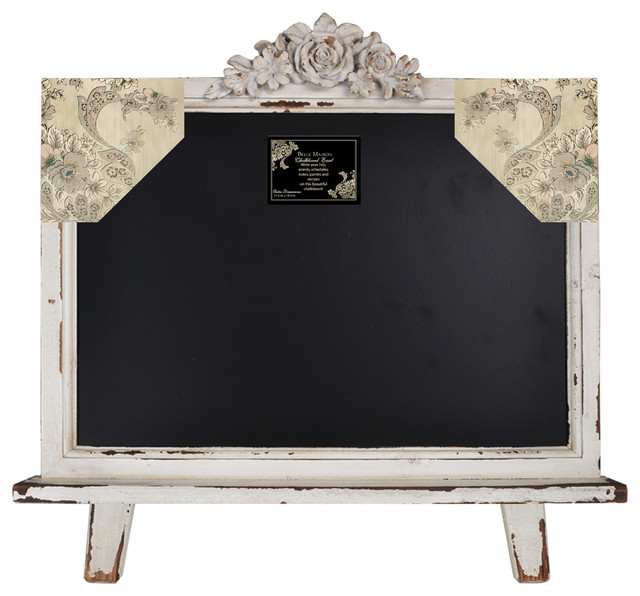"Distressed  Wood Framed Table Top Chalkboard Sign 21.5""x19"" (Shabby White) bulletin-board"