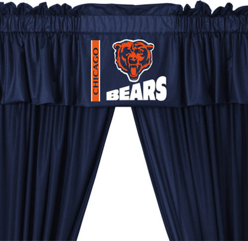 Nfl Chicago Bears 5 Piece Long Curtain Drapes Valance Set Contemporary Curtains By Obedding