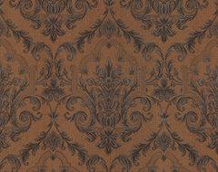 Consuela Copper Damask Wallpaper traditional-wallpaper