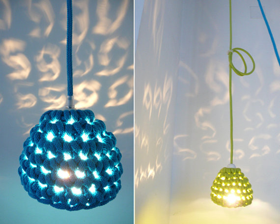 Pendant Lamp With Crocheted Lamp Shade And Textile Cable By La Casa De Coto eclectic pendant lighting