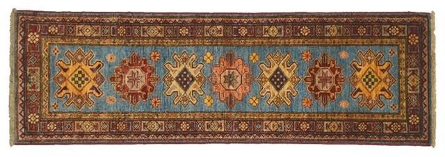 Oriental Rug Geometric Design Runner Super Kazak Hand Knotted Rug Sh7720 traditional-rugs