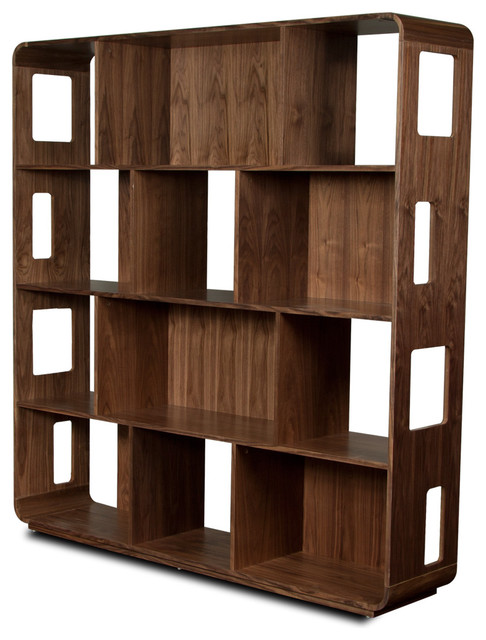 ... Walnut Bookshelf (L) modern bookcases cabinets and computer armoires