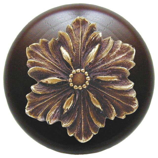 Notting Hill Opulent Flower/Dark Walnut Wood Knob - Antique Brass modern-cabinet-and-drawer-knobs