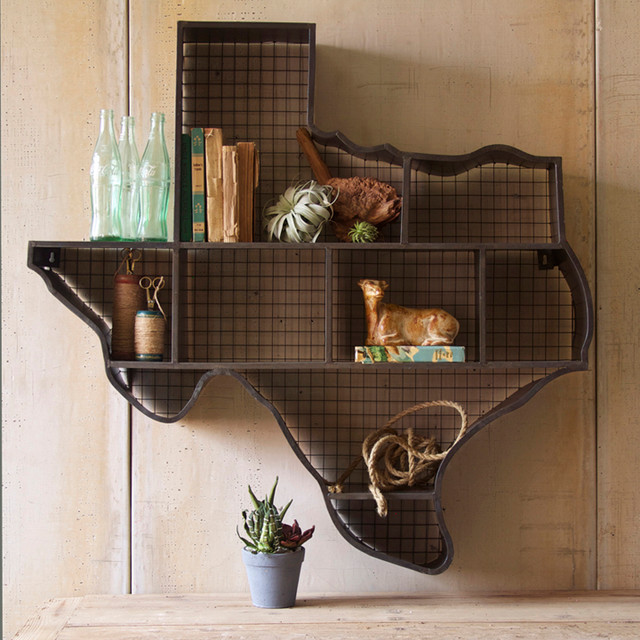 Texas cubby wall shelf eclectic display and wall shelves atlanta by iron accents - Home decor texas ideas ...