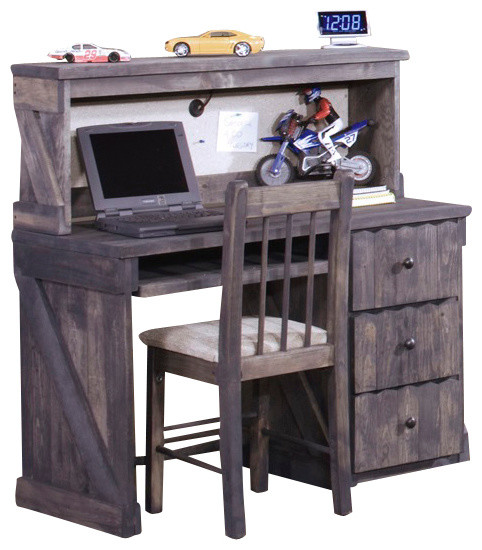 chelsea home 3 drawer student desk with hutch and chair in driftwood traditional desks and. Black Bedroom Furniture Sets. Home Design Ideas