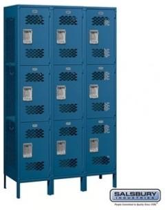 Extra Wide Vented Metal Locker - Triple Tier - 3 Wide - 6 Feet High -Unassembled modern-storage-cabinets