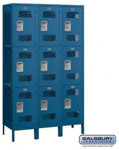 Extra Wide Vented Metal Locker - Triple Tier - 3 Wide - 6 Feet High -Unassembled modern-storage-units-and-cabinets