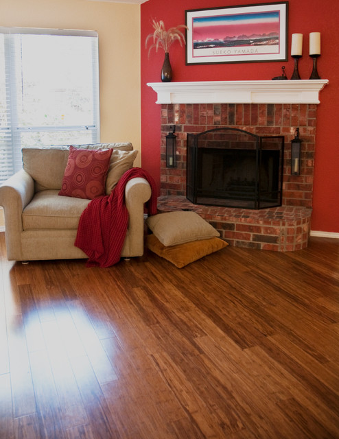 Bamboo floors traditional living room other metro for Bamboo flooring designs living room