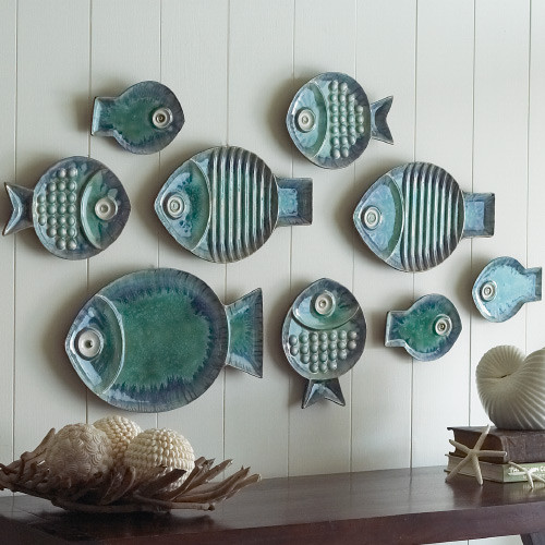 Malibu Fish Plates, Set of 9 eclectic platters