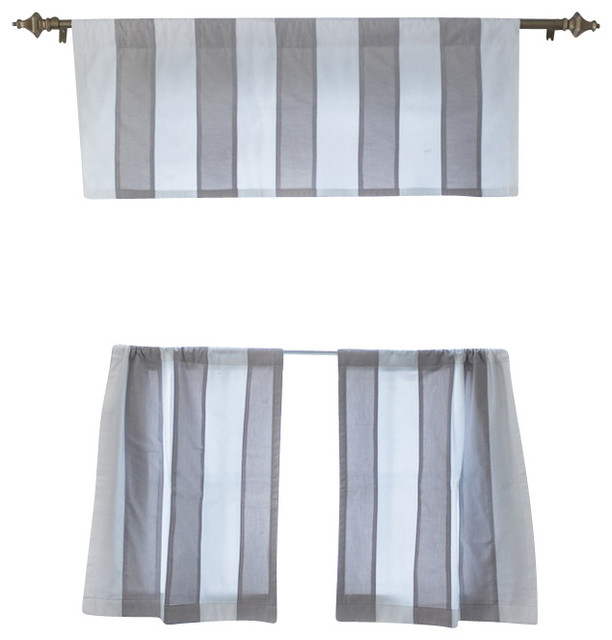 stripe cafe curtain light gray and white 24x28 transitional curtains