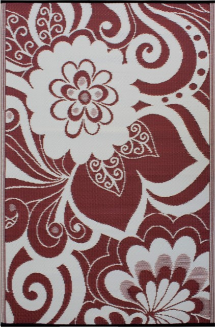 Indoor/Outdoor Maui Rug, Cranberry Red & Cream, 6x9 tropical-outdoor-rugs