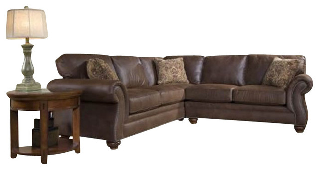 Broyhill Laramie 2 Piece Sectional Sofa With Cherry Wood Finish Transitional Sectional Sofas
